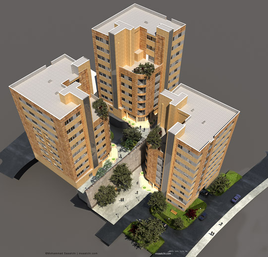 Simulation of exterior site plan